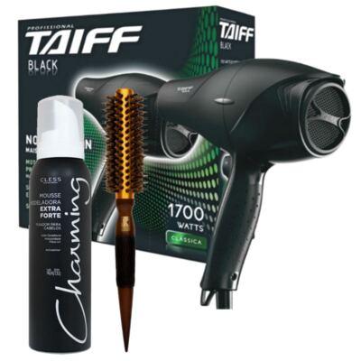 Imagem 1 do produto Kit Secador Taiff Black 1700W 110V + Escova Térmica Marco Boni + Mousse Modelador Charming