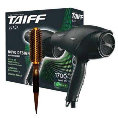 Kit Secador Taiff Black 1700W 110V + Escova Térmica de Cabelo Marco Boni Profissional