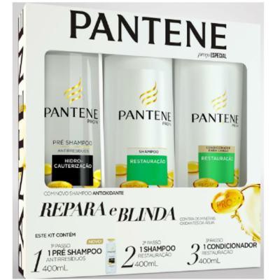 Kit Pantene Restauração Pré Shampoo 400ml + Shampoo 400ml + Condicionador 400ml