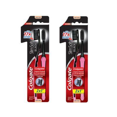 Escova Dental Colgate Slim Soft Black Leve 2 Pague 1 - 2 Packs