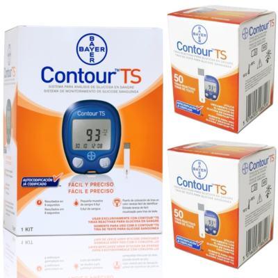 Contour TS Bayer 50 Tiras - 2 Unidades +  Kit Aparelho Monitor Contour TS 10 Tiras