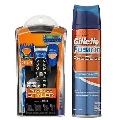 Imagem 1 do produto Kit Gillette Aparelho Barbeador Styler + Acessórios + Gel de Barbear Fusion Proglide Hidratante 198g