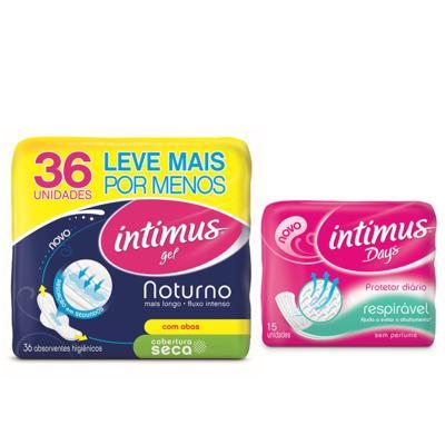Compre Absorvente Intimus Gel Noturno Seca com 36 e ganhe Protetor diário  Intimus Days sem perfume com 15