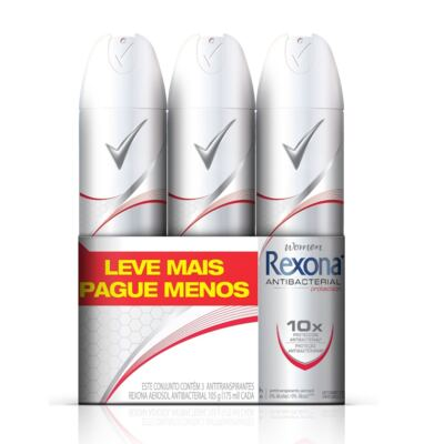 Imagem 1 do produto Desodorante Aerosol Rexona Antibacteriano 3 Unidades
