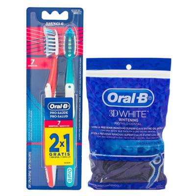 Kit Oral-B 2 Escovas Pró-Saúde 7 Benefícios + Fio Dental 3D White Flexível Hastes 75 Unidades