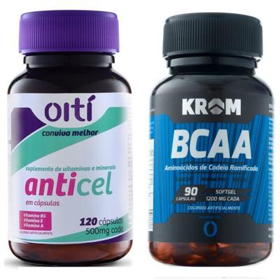 Anticel 500mg Oiti 120 Cápsulas + Suplemento BCAA Krom 90 Cápsulas