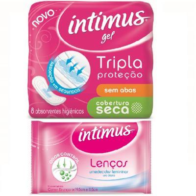Absorvente Intimus Gel Cobertura Normal Seca sem abas com 8 unidades + Lenços Umedecidos Intimus com 16 Unidades