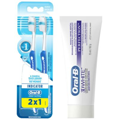 Imagem 1 do produto Kit Oral-B 2 Escovas Indicator 30 Plus + Creme Dental 3D White Perfect 75g