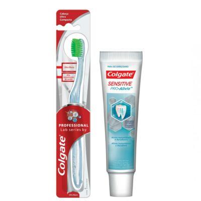 Imagem 10 do produto Kit Colgate Escova Dental Professional Lab Séries + Creme Dental Sensitive Pró-Alívio 50g