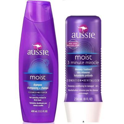 Aussie Moist Shampoo 400ml + Aussie Moist Tratamento Capilar 3 Minutos Milagrosos 236ml