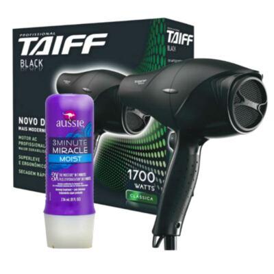 Imagem 1 do produto Kit Secador Taiff Black 1700W + Aussie Moist Tratamento Capilar 3 Minutos 236ml