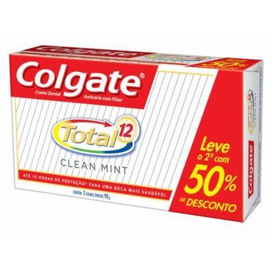 Imagem 1 do produto Kit Creme Dental Colgate Total 12 Clean Mint 90g 2 Unidades