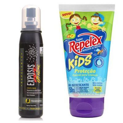 Imagem 1 do produto Repelente Exposis Extreme 100ml + Repelente Replex Kids 133ml