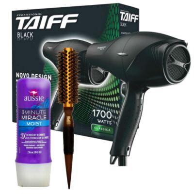 Kit Secador Taiff Black 1700W + Escova Térmica Marco Boni + Aussie Moist Tratamento 3 Minutos