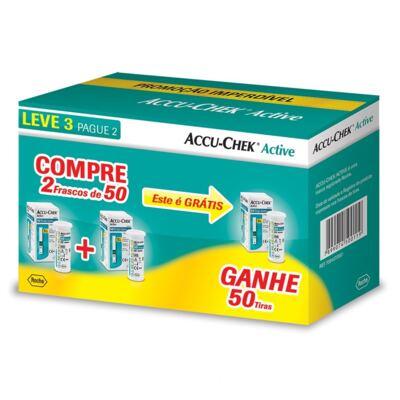 Kit Accu-Check Active 50 tiras 3 Frascos