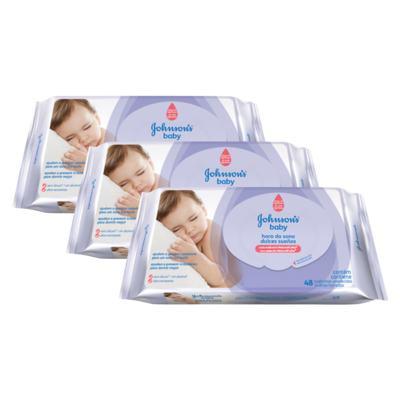 Kit 3 Lenços Umedecido Johnson´s Baby Hora do Sono 144 Unidades