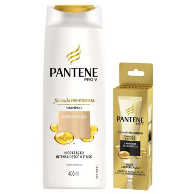 Kit Pantene Shampoo Hidratação Intensa 400ml + Ampola Hidro Cauterização 15ml