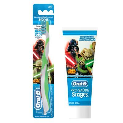 Kit Oral-B Stages Star Wars Escova Dental Infantil Pró-Saúde + Creme Dental 75ml