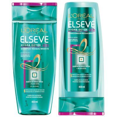 Kit Elseve Hydra Detox 48h Antioleosidade Shampoo 400ml + Condicionador 400ml