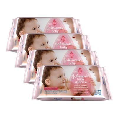 Kit 4 Lenços Umedecido Johnson´s Baby Skin Care 192 Unidades