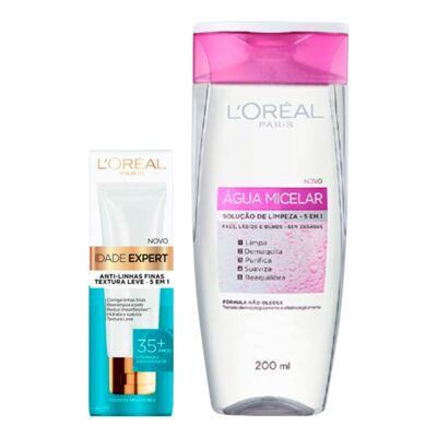 Imagem 1 do produto Kit L'Oréal Água Micelar 200ml + Creme Antissinais Idade Expert 35+ 40ml