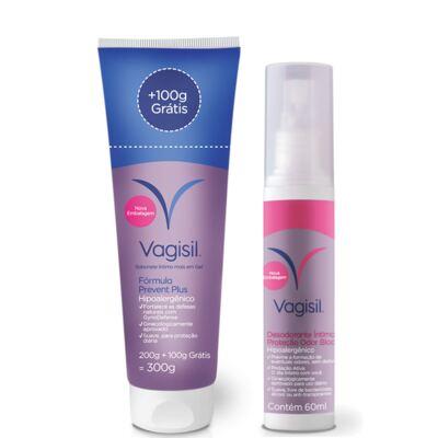 Imagem 2 do produto Kit Vagisil Sabonete Líquido Íntimo Prevent Plus 300g + Desodorante Íntimo 60ml