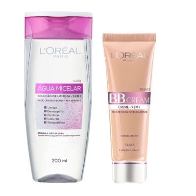 Loreal Água Tônico Micelar 200ml + Base L'Oréal BB Cream 5 em 1 Clara FPS 20 50ml
