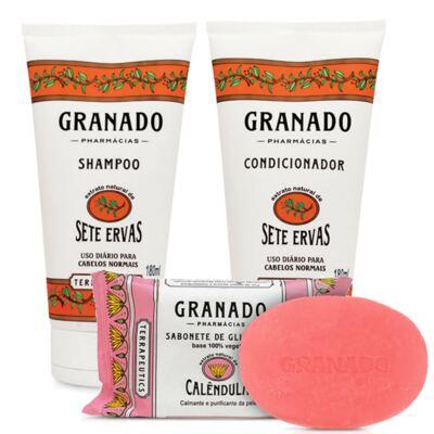 Imagem 2 do produto Kit Granado Shampoo + Condicionador Sete Ervas 180ml + Sabonete Glicerinado 90g