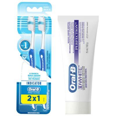 Imagem 1 do produto Kit Oral-B 2 Escovas Indicator 35 Plus + Creme Dental 3D White Perfect 75g