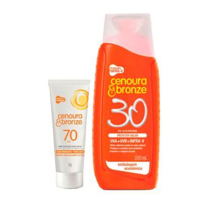 Imagem 1 do produto Kit Protetor Solar Cenoura & Bronze FPS 30 200ml + Protetor Facial FPS 70 50g
