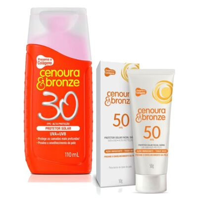 Kit Protetor Solar Cenoura & Bronze FPS 30 110ml + Facial FPS 50 50g