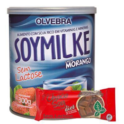 Kit Olvebra Soymilke Morango 300g + Barra Choco Soy Diet 25g