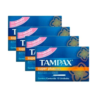Imagem 1 do produto Kit 4 Absorvente Interno Tampax Normal Super Plus 40 Unidades