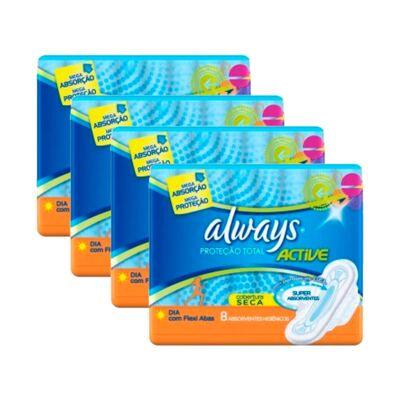 Imagem 1 do produto Kit 4 Absorvente Always Proteção Total com Abas 32 Uniddes