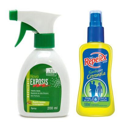Repelente Exposis Spray 200ml + Repelente Spray Repelex Citronela 100ml