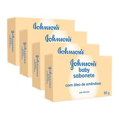 Kit Sabonete Johnson's Baby Óleo de Amêndoas  80g 4 Unidades