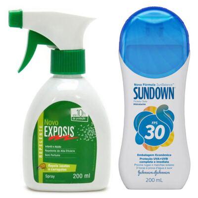 Repelente Exposis Spray 200ml + Protetor Solar Sundown FPS 30 350ml
