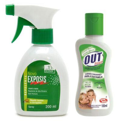 Imagem 1 do produto Repelente Exposis Spray 200ml + Repelente Out Inset Bombril Família Loção 100ml