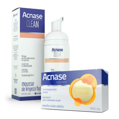 Imagem 1 do produto Kit Acnase Sabonete Antiacne 110g + Mousse de Limpeza Facial Clean 150ml - Sabonete Acnase 110g + Acnase Clean Mousse 150ml