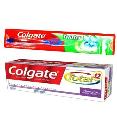 Imagem 1 do produto Kit Escova Dental Colgate Twister + Creme Dental Colgate Total 1
