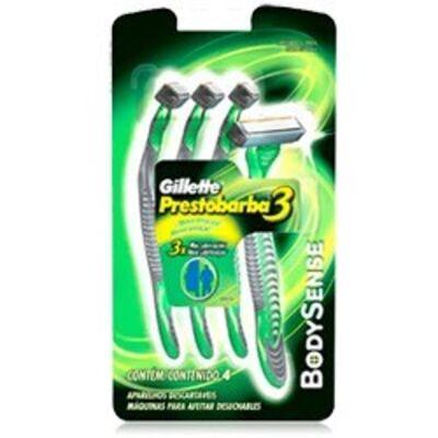 Imagem 1 do produto Aparelho de Barbear Gillette Prestobarba 3 Bobysense C/ 4 Unidades