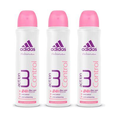Imagem 1 do produto Kit Desodorante Adidas Aerosol Feminino Action 3 Control 150ml 3 Unidades