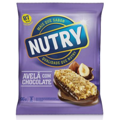 Barra de Cereal Nutry Light Avelã com Chocolate 22g 3 Unidades
