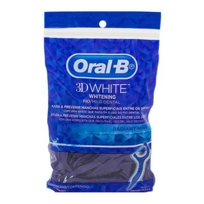Fio Dental Oral-B 3D White Flexível com Haste 75 unidades