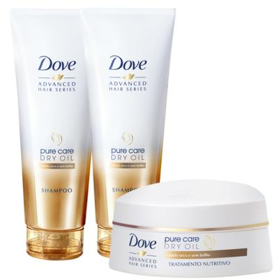 Kit Dove Pure Care Oil Shampoo 200ml 2 Unidades Grátis Creme de Tratamento 350g
