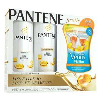 Imagem 1 do produto Kit Pantene Liso Extremo Shampoo + Condicionador 400ml Grátis Aparelho Gillette Venus Malibu - 2 Unidades