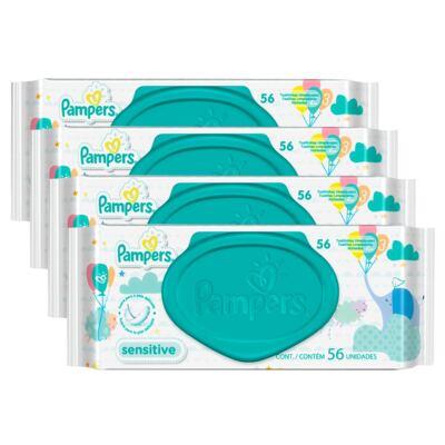 Imagem 1 do produto Kit Lenços Umedecidos Pampers Sensitive 224 Unidades
