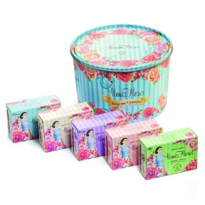 Kit Banho Alma de Flores 5 Sabonetes 130g + Lata Exclusiva