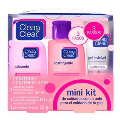 Kit Sabonete Líquido + Adstringente + Gel Secativo Clean & Clear Mini - Kit