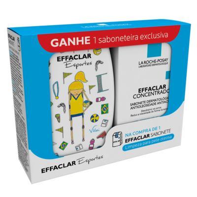 Imagem 1 do produto Effaclar Sabonete Concentrado La Roche Posay - Limpador Facial 80g + Saboneteira - Kit